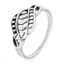 Inel din argint 925 - brațe înguste, ornament sculptat cu boabe și patină