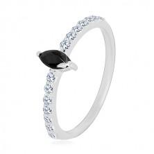 Inel de argint 925 - brațe înguste, zirconiu de culoare neagră în formă de bob, zirconii transparente