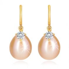 Cercei cu diamant din aur galben 14K - arc lucios, perlă ovală și strălucitoare
