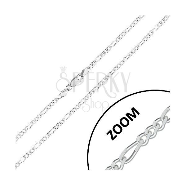 Lanț din argint 925 - design Figaro, margini tăiate strălucitoare, 2,7 mm