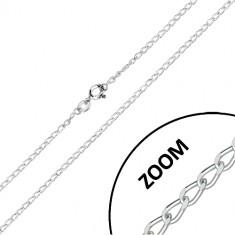Lanț de argint 925 - zale ovale cu muchii tăiate conectate în serie, 1,8 mm
