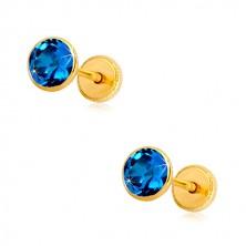 Cercei din aur galben 14K - zirconiu albastru în suport, închidere de tip fluturaș, 5 mm