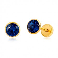 Cercei din aur galben 14K - zirconiu albastru-safir în suport, închidere de tip fluturaș, 5 mm