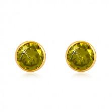 Cercei din aur galben 14K - zirconiu verde în suport, închidere de tip fluturaș, 5 mm