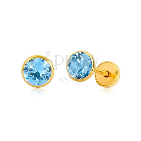 Cercei din aur galben 14K - zirconiu albastru cer în suport, închidere de tip fluturaș, 5 mm