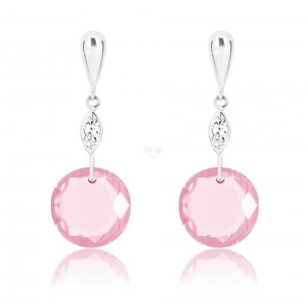 Cercei din aur alb 9K - lacrimă inversată, zirconii transparente, zirconiu rotund roz