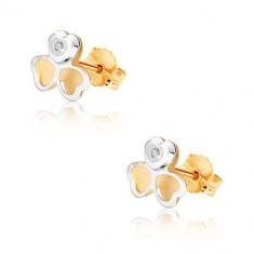Cercei din aur combinat 375 - zirconiu mic, trifoi în două culori