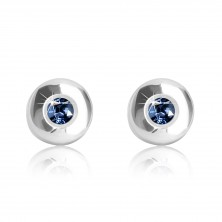 Cercei din aur alb 375 - cerc lucios cu safir albastru închis, 5 mm