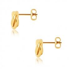 Cercei din aur galben 375 - trei inele întrețesute lucioase