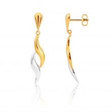 Cercei din aur combinat 9K - picătură inversată, valuri în două culori