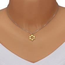 Colier din argint 925 - Steaua lui David în nuanță aurie, diamant negru