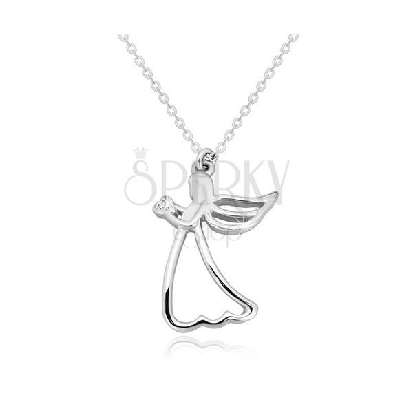 Colier din argint 925 - înger sculptat cu inimă, diamant transparent