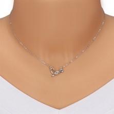 """Colier din argint 925 - inscripție sculptată """"love"""", diamante strălucitoare"""