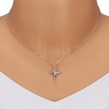 Colier din argint 925 - cruce lucioasă cu simbolul infinitului, diamante transparente