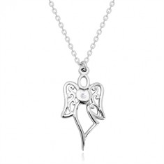 Colier din argint 925 - înger sculptat, inimă cu diamant transparent