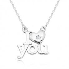 """Colier din argint 925 cu diamant, """"I heart you"""", lanț din zale ovale"""