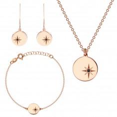 Set din argint 925 cu trei piese de culoare roz-auriu - stea nordică, diamant negru