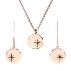 Set argint 925 de culoare roz-auriu - colier și cercei, cerc cu Polaris, diamant negru