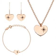 Set de culoare roz-auriu, argint 925 - inimă lucioasă, stea nordică, diamant negru