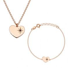 Set din argint 925 de culoare roz-auriu - brățară și colier, inimă cu Polaris și diamant