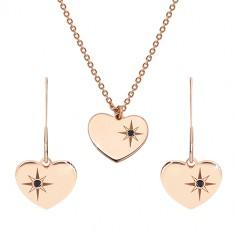 Set de culoare roz-auriu, argint 925 - cercei și colier, inimă cu Polaris și diamant