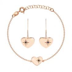 Set din argint 925, nuanță roz-auriu - brățară și cercei, inimă cu Polaris și diamant