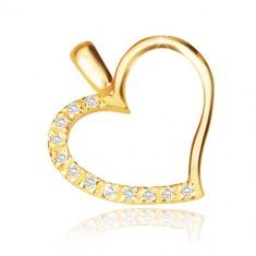 Pandantiv din aur galben de 14 K - contur asimetric de inimă, jumătate din zirconii strălucitoare