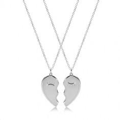 Set din argint 925 - două coliere, inima înjumătățită cu ochi