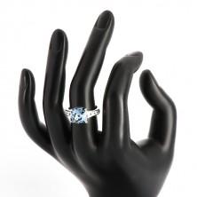 Inel din argint 925 - zirconiu pătrat de culoare albastru închis și zirconii transparente