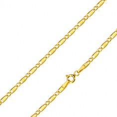 Lanț din aur 14K - zale ovale, zală oblică cu dreptunghi, 550 mm