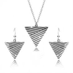 Set din argint 925 - colier și cercei, triunghi inversat cu linii de patină