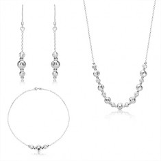 Set cu trei piese din argint 925 - bile cu tăieturi în formă de semilună, lanț strălucitor