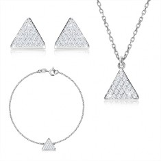 Set cu trei piese din argint 925 - triunghi echilateral cu zirconii, lanț