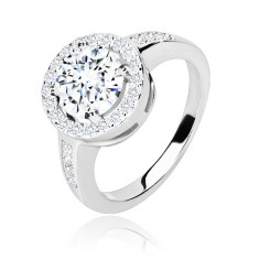 Inel de logodnă din argint 925 - zirconiu rotund cu margine strălucitoare, brațe lucioase