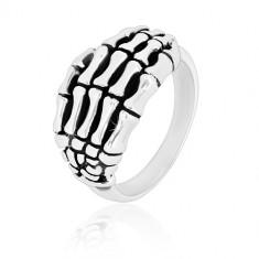 Inel din argint 925 - schelete în formă de mână, brațe lucioase, patină