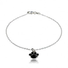Bratara din argint 925 - laba neagra, lant strălucitor din zale ovale