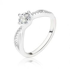 Inel de logodnă, argint 925, braţe unduite împletite, zirconiu transparent