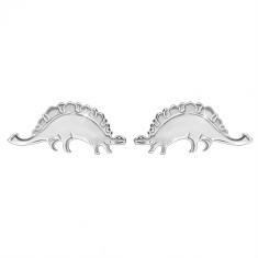 Cercei din argint 925 - dinozaur strălucitor - stegosaur, închidere de tip fluturaș
