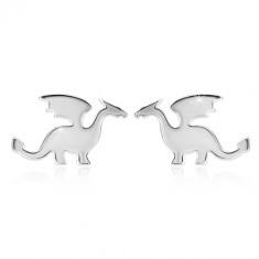 Cercei din argint 925 - motiv de dragon, finisaj lucios, închidere de tip fluturaș