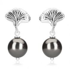 Cercei din argint 925 - bile de culoare hematită, cochilie, închidere de tip fluturaș