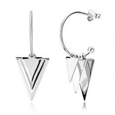 Cercei argint 925 - triunghiuri și bile lucioase, arc îngust cu bilă, închidere de tip fluturaș
