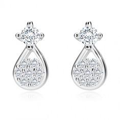Cercei din argint 925 - lacrimă cu floare din zirconii, zirconiu în montură, închidere de tip fluturaș