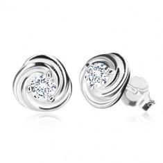 Cercei din argint 925 - floare cu petale, zirconiu strălucitor, închidere de tip fluturaș