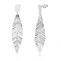 Cercei din argint 925 - pană lucioasă, lacrimă inversată, închidere de tip fluturaș
