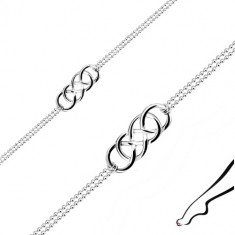 Brațară pentru gleznă din argint 925 - nod celtic, lanț dublu Army