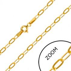 Lanț din aur galben de 14K - zale plate alungite, închidere de tip inel cu arc, 550 mm