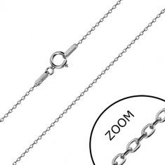 Lanț din aur alb 14K - zale ovale lucioase, lanț stil Rolo, 450 mm