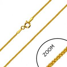 Lanț unghiular din aur galben de 14K - zale dens împletite, inel de închidere cu arc, 500 mm