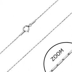 Lanț din aur alb de 14 K - zale dreptunghiulare, lanț unghiular, 500 mm
