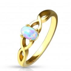 Inel din oțel de culoare aurie - opal sintetic cu reflexe curcubeu, brațe întrețesute între ele